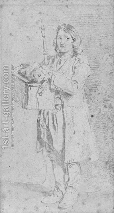A young Savoyard holding an oboe and a marmot in its case by Jean-Antoine Watteau - Reproduction Oil Painting