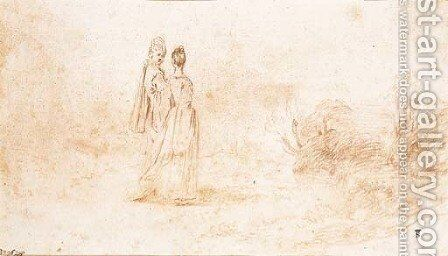 An elegant couple walking in an extensive landscape by Jean-Antoine Watteau - Reproduction Oil Painting