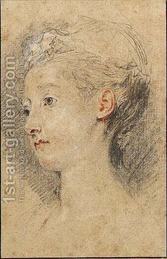 Head of a young girl turned to the left by Jean-Antoine Watteau - Reproduction Oil Painting