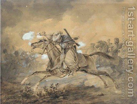 An Egyptian horseman blowing up a gun, the French infantry fighting the Egyptians in the background by Carle Vernet - Reproduction Oil Painting
