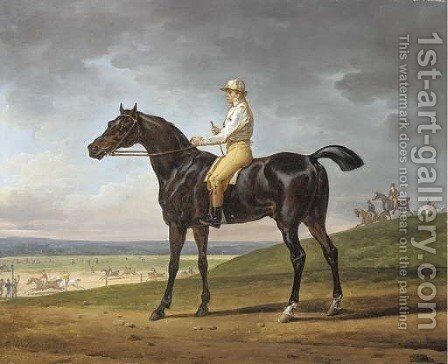 Lord Lowther's Busto with W. Wheatley, up at Newmarket, 1815 by Carle Vernet - Reproduction Oil Painting