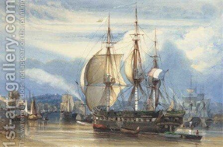 The French merchant frigate Chile preparing to set sail by Antoine-Desire Heroult - Reproduction Oil Painting