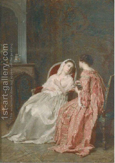 Conversation over a cup of tea by Antoine Emile Plassan - Reproduction Oil Painting