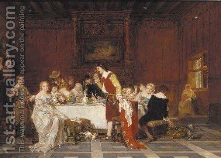 Elegant figures dining in an interior by Antoine Emile Plassan - Reproduction Oil Painting