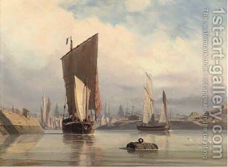 Ghosting into harbour by Antoine Leon Morel-Fatio - Reproduction Oil Painting
