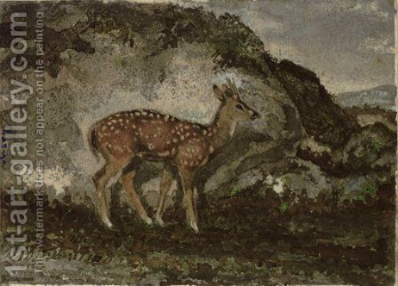 A Fawn by Antoine-louis Barye - Reproduction Oil Painting
