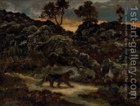 A lioness in a landscape by Antoine-louis Barye - Reproduction Oil Painting
