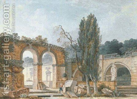 The courtyard of a ruined classical villa by Antoine Pierre Mongin - Reproduction Oil Painting