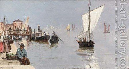On the lagoon, Venice by Antoinetta Brandeis - Reproduction Oil Painting