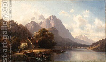 A mountainous village by Anton Doll - Reproduction Oil Painting