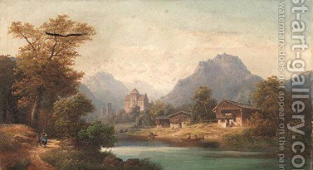A village by a river by Anton Doll - Reproduction Oil Painting