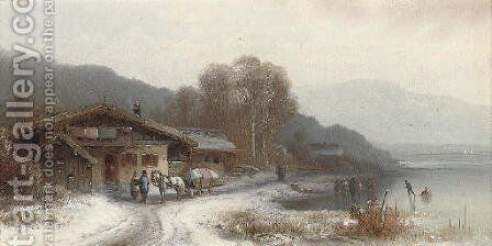 Children skating by a lakeside chalet by Anton Doll - Reproduction Oil Painting