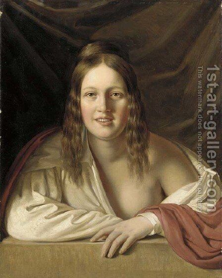Portrait of a lady by Anton Einsle - Reproduction Oil Painting