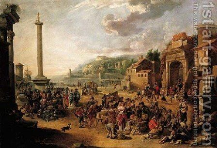 A market in an Italianate harbour with Diogenes in search of an honest man by Anthonie Goubau - Reproduction Oil Painting