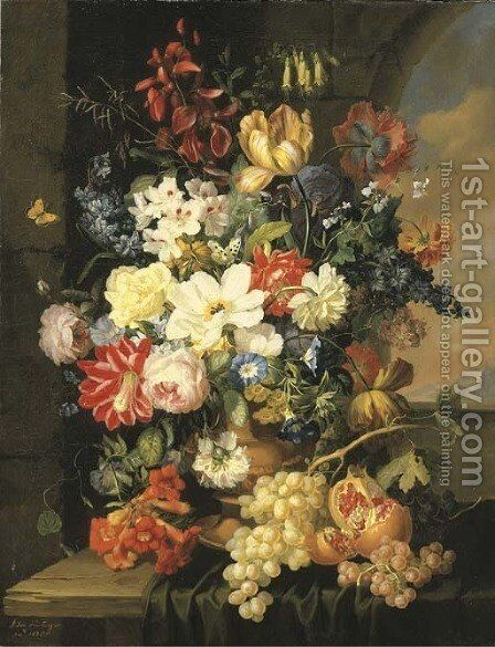 Roses, morning glory, an iris and other flowers in a sculpted urn with grapes and a pomegranate on a partly-draped ledge by Anton Hartinger - Reproduction Oil Painting
