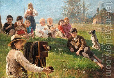 The photographers admirers by Anton Kozakiewicz - Reproduction Oil Painting