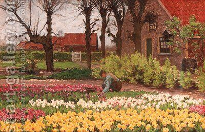 A bulb-farm by Anton Lodewijk Koster - Reproduction Oil Painting