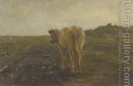 A cow in a meadow - a study by Anton Mauve - Reproduction Oil Painting