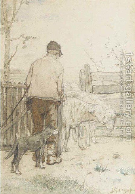 Bringing in the sheep by Anton Mauve - Reproduction Oil Painting