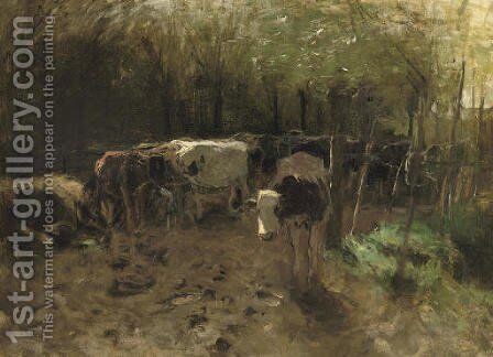 De Koeienbocht a herd of cows on a country path by Anton Mauve - Reproduction Oil Painting