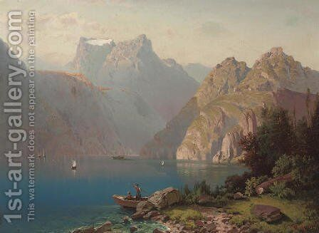 An alpine lake in summer by Anton Pick - Reproduction Oil Painting