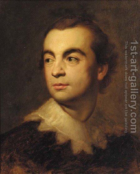 Portrait of a gentleman, bust-length, in a black coat with a van Dyck collar a study by Anton Raphael Mengs - Reproduction Oil Painting