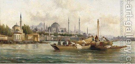 Trading vessels before Hagia Sofia, Istanbul by Anton Schoth - Reproduction Oil Painting