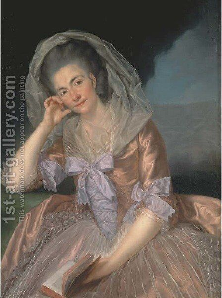 Portrait of Elizabeth Hervey (1733-1800), wife of the 4th Earl of Bristol, three-quarter-length, seated in a salmon pink dress with lilac bowes by Anton von Maron - Reproduction Oil Painting