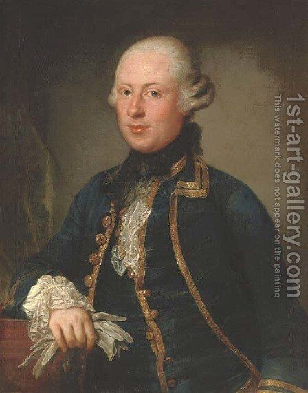 Portrait of Thomas Charles Bigge (c.1739-1794), of Benton House, Northumberland, half-length, in a blue coat with gold trim, holding a pair of gloves by Anton von Maron - Reproduction Oil Painting