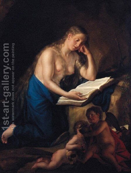 The Penitent Magdalen by Anton von Maron - Reproduction Oil Painting