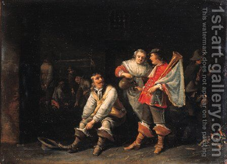 An officer pulling on his boot as a maid serves drink to a trumpeter in a guardroom by Anthonie Palamedesz. (Stevaerts, Stevens) - Reproduction Oil Painting