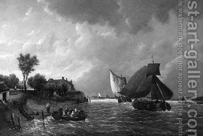 A river landscape with barges at full sail and townsfolk in the foreground by Antonie Waldorp - Reproduction Oil Painting
