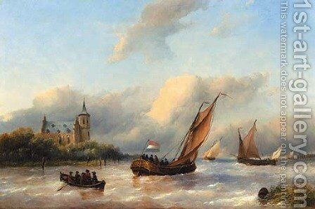 A royal barge on a choppy river with slot Loevestein in the background by Antonie Waldorp - Reproduction Oil Painting