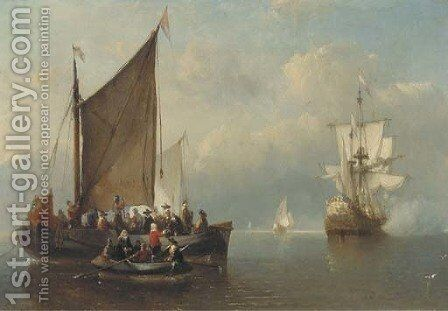A salute at sea by Antonie Waldorp - Reproduction Oil Painting