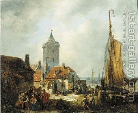 Daily activities in a fisher village by Antonie Waldorp - Reproduction Oil Painting