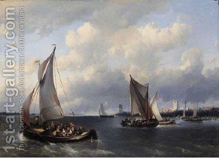 Sailing vessels on choppy water, a town in the distance by Antonie Waldorp - Reproduction Oil Painting