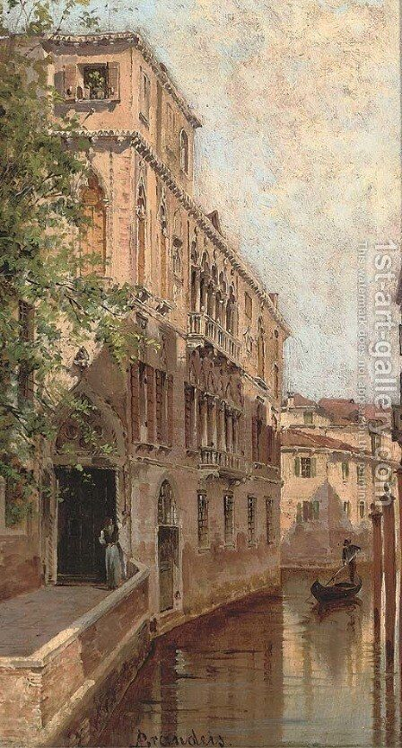 A gondolier on a Venetian backwater by Antonietta Brandeis - Reproduction Oil Painting