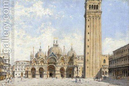 Piazza San Marco with a view of the Basillica and the Campanile, Venice by Antonietta Brandeis - Reproduction Oil Painting
