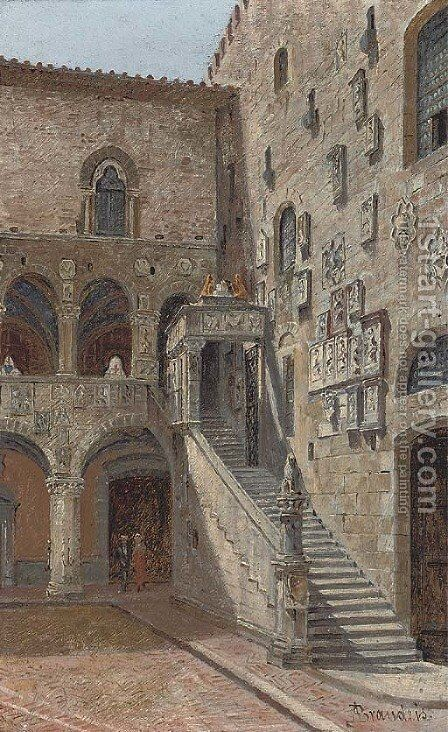 The courtyard of the Bargello, Florence by Antonietta Brandeis - Reproduction Oil Painting