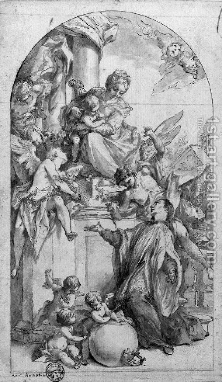 The Madonna and Child with Saint Luigi Gonzaga and angels by Antonio Balestra - Reproduction Oil Painting