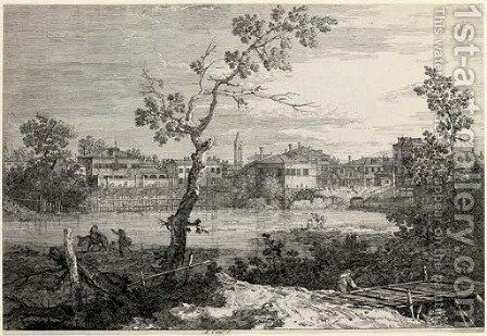 View of a Town on a River Bank by (Giovanni Antonio Canal) Canaletto - Reproduction Oil Painting