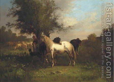A farm girl with horses and sheep in a field by Antonio Cordero Cortes - Reproduction Oil Painting