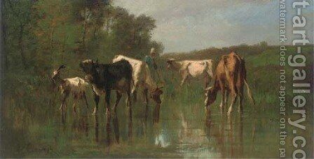 Livestock watering before woodland by Antonio Cordero Cortes - Reproduction Oil Painting