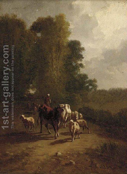 A drover with cattle and sheep on a wooded track by Antonio Cordero Cortes - Reproduction Oil Painting