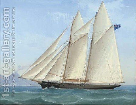 A Royal London Yacht Club racing schooner in Neapolitan waters by Antonio de Simone - Reproduction Oil Painting