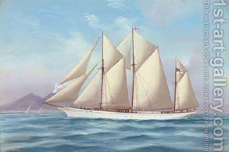 The Royal Yacht Squadron schooner Fanteme in the Mediterranean off Naples by Antonio de Simone - Reproduction Oil Painting
