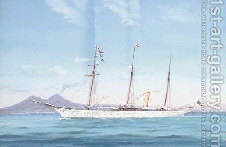 The Royal Yacht Squadron steam yacht Fedora in the Mediterranean off Naples by Antonio de Simone - Reproduction Oil Painting