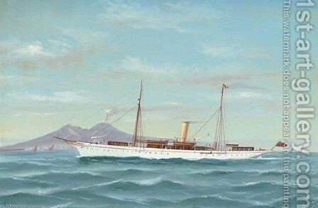 The steam yacht Capercailzie in Neapolitan waters by Antonio de Simone - Reproduction Oil Painting