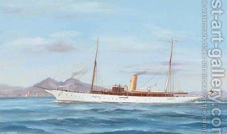 The steam yacht Narcissus in the Mediterranean off Naples by Antonio de Simone - Reproduction Oil Painting