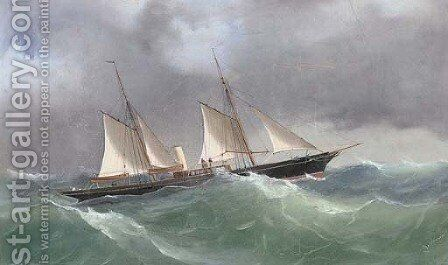 The steam yacht Yarta in rough seas by Antonio de Simone - Reproduction Oil Painting